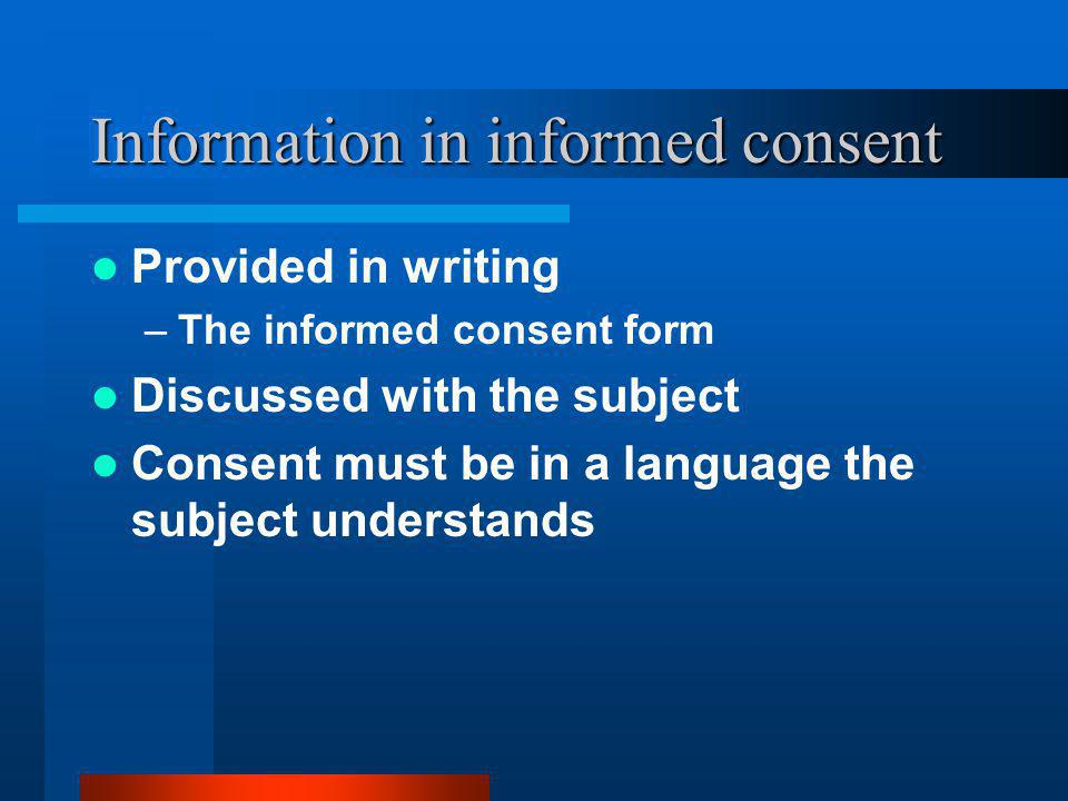 Information in informed consent