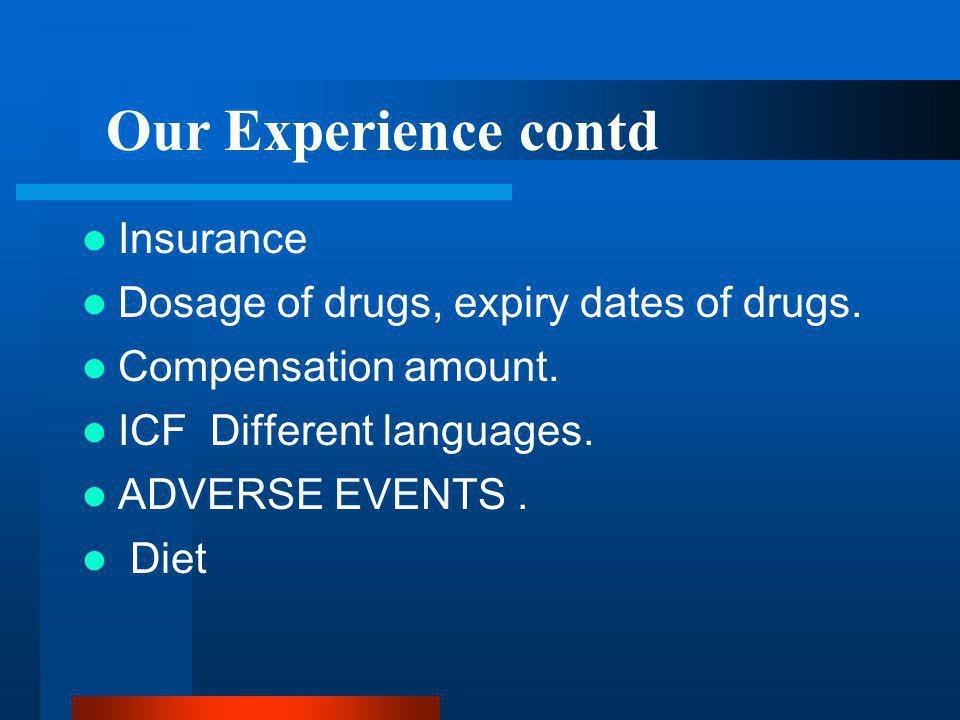 Our Experience contd Insurance Dosage of drugs, expiry dates of drugs.