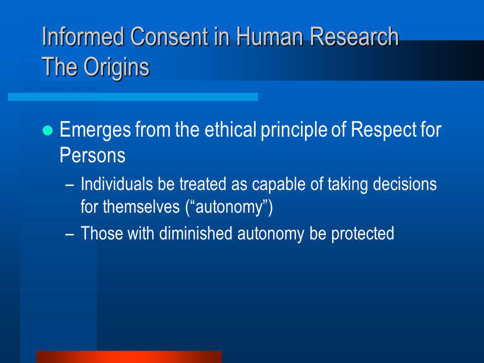Informed Consent in Human Research The Origins