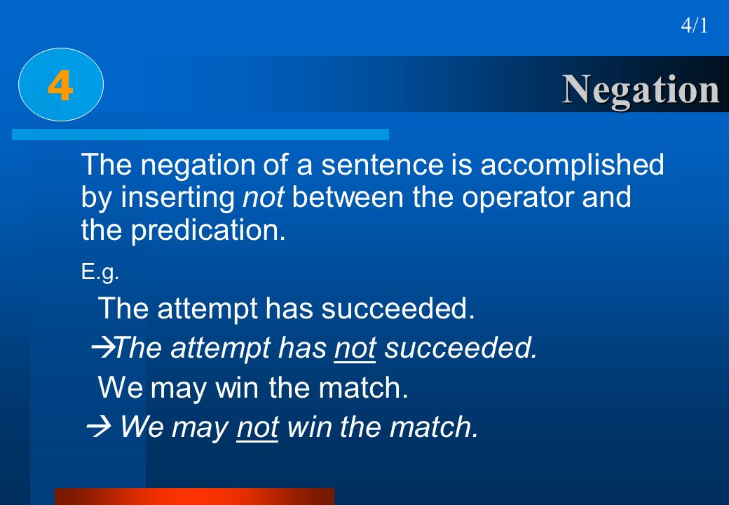 4/1 4. Negation. The negation of a sentence is accomplished by inserting not between the operator and the predication.