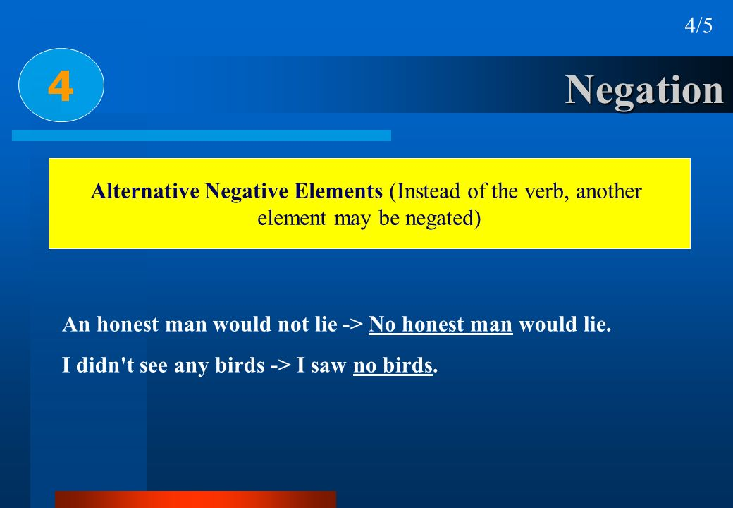 4/5 4. Negation. Alternative Negative Elements (Instead of the verb, another. element may be negated)