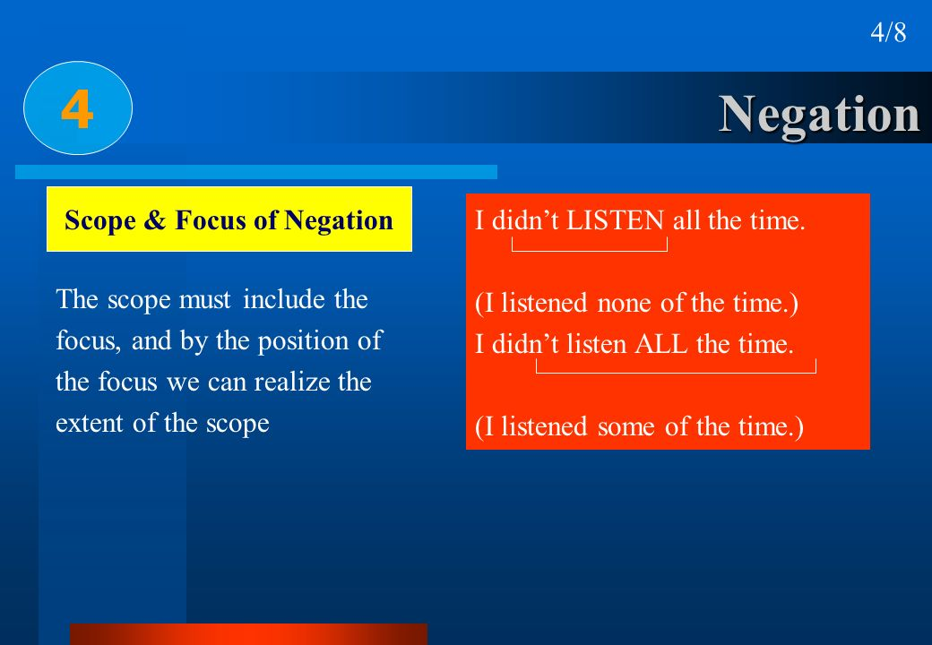 Scope & Focus of Negation