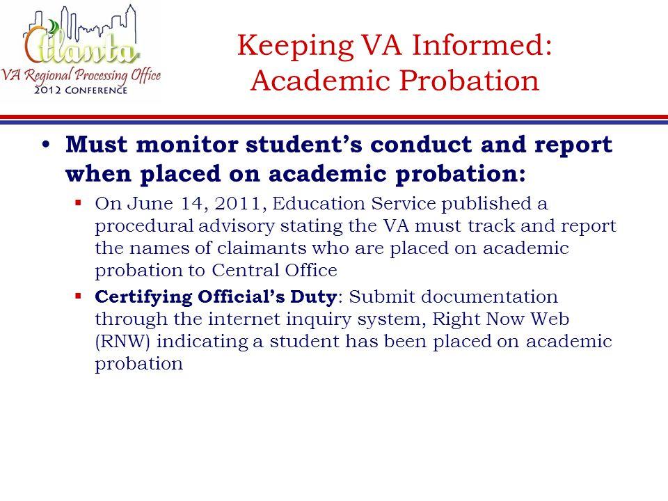 Keeping VA Informed: Academic Probation