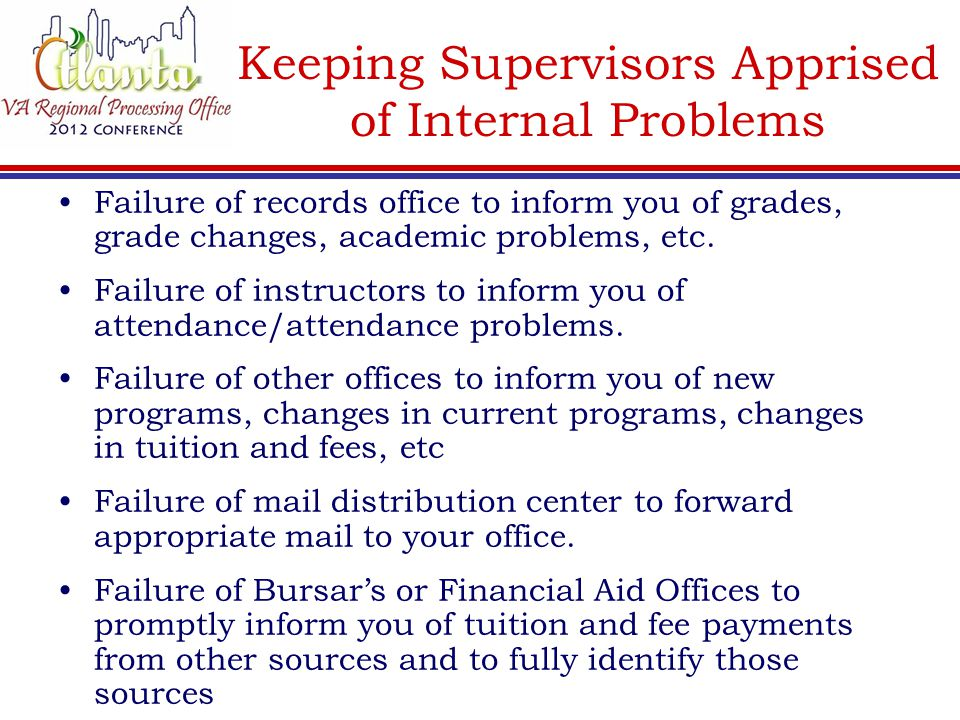 Keeping Supervisors Apprised of Internal Problems