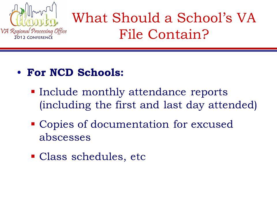What Should a School's VA File Contain