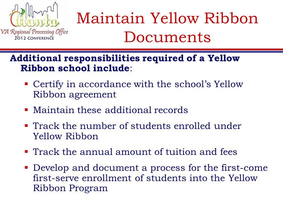 Maintain Yellow Ribbon Documents