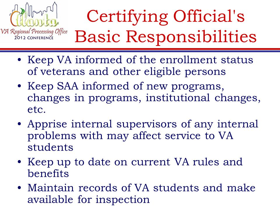 Certifying Official s Basic Responsibilities