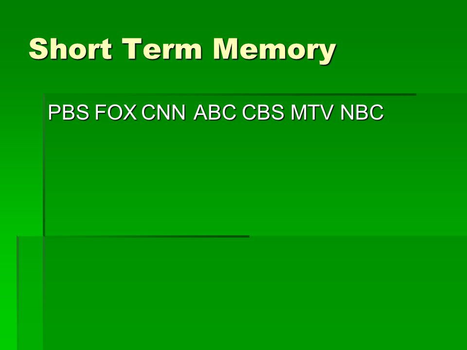 Short Term Memory PBS FOX CNN ABC CBS MTV NBC