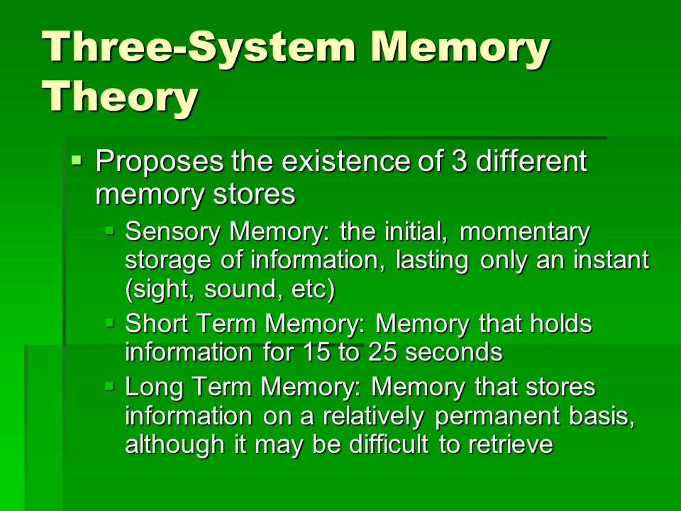 Three-System Memory Theory