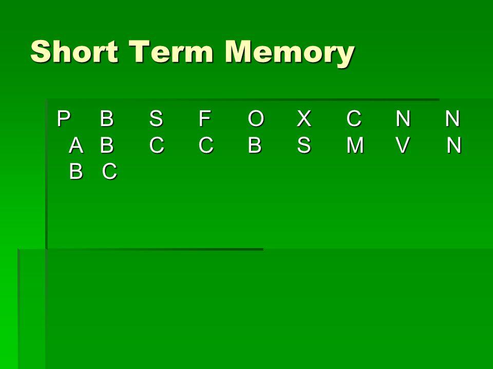 Short Term Memory P B S F O X C N N A B C C B S M V N B C