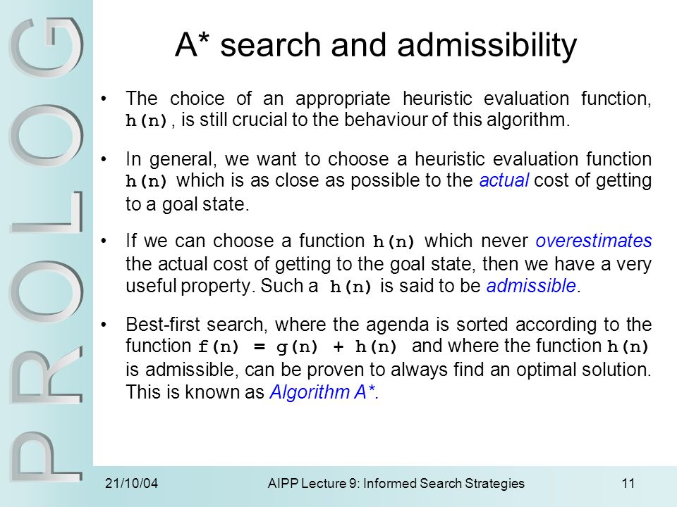 A* search and admissibility