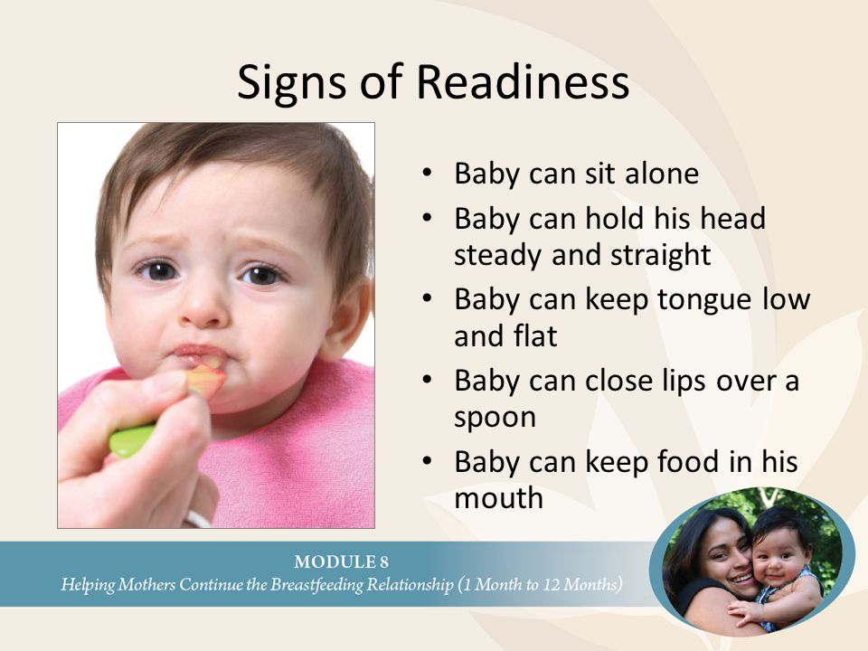 Signs of Readiness Baby can sit alone