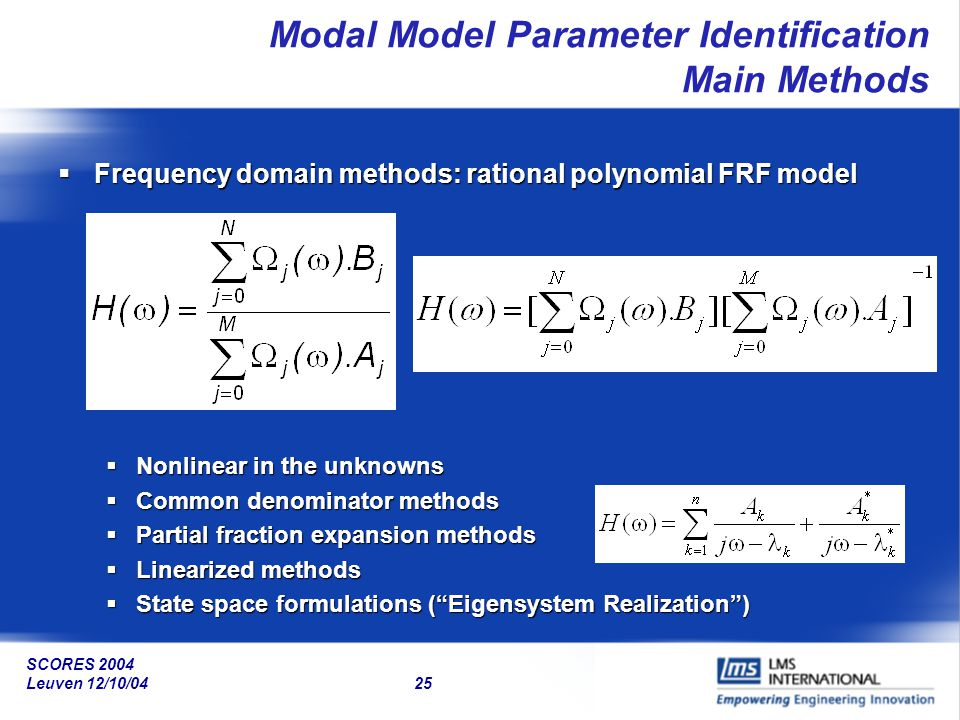 Modal Model Parameter Identification Main Methods