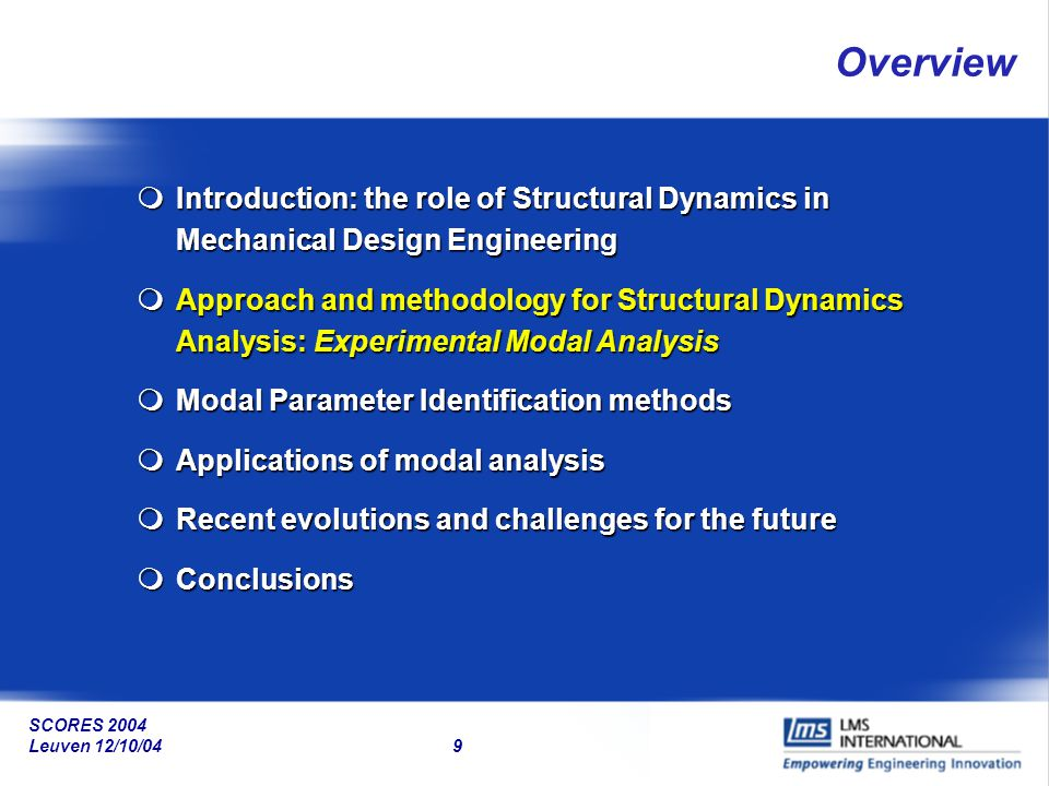 Overview Introduction: the role of Structural Dynamics in Mechanical Design Engineering.