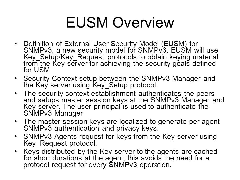 EUSM Overview