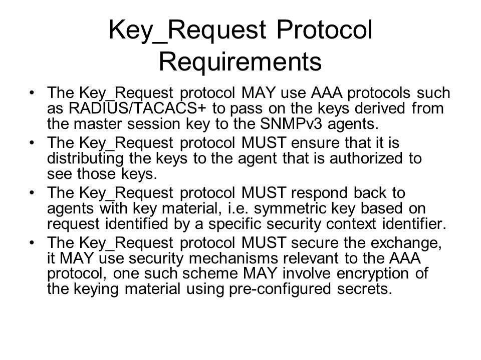 Key_Request Protocol Requirements