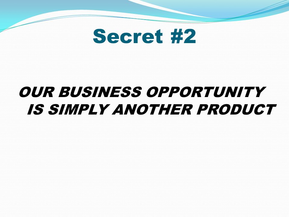 Secret #2 OUR BUSINESS OPPORTUNITY IS SIMPLY ANOTHER PRODUCT