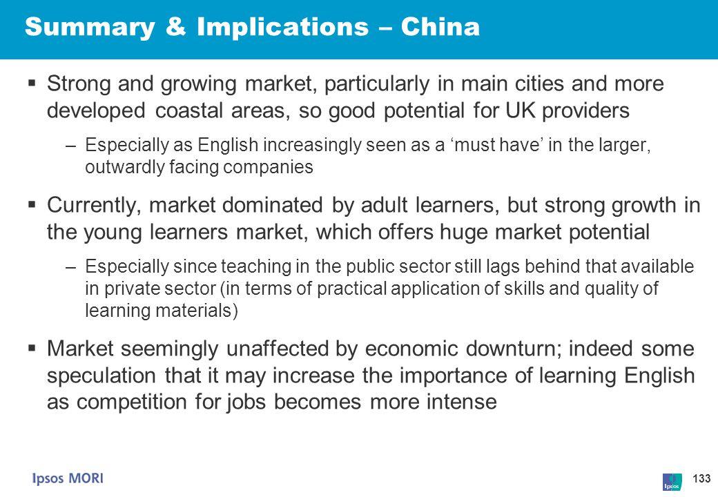 Summary & Implications – China