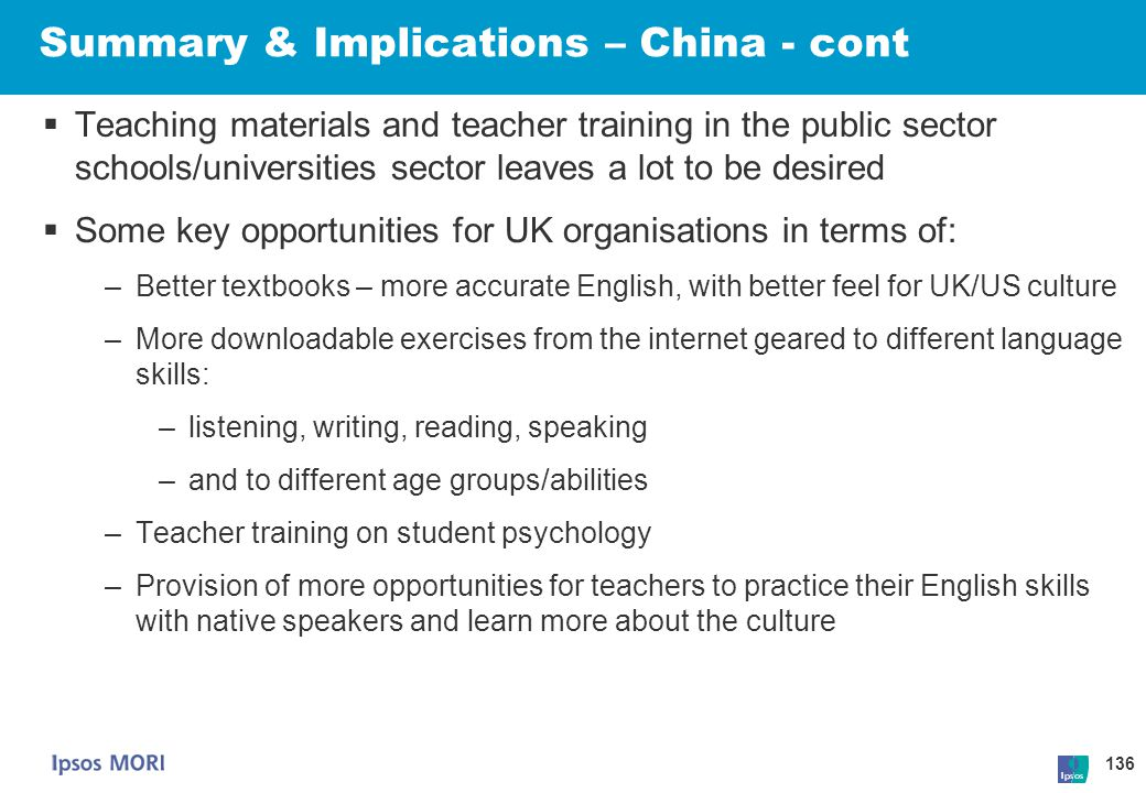 Summary & Implications – China - cont