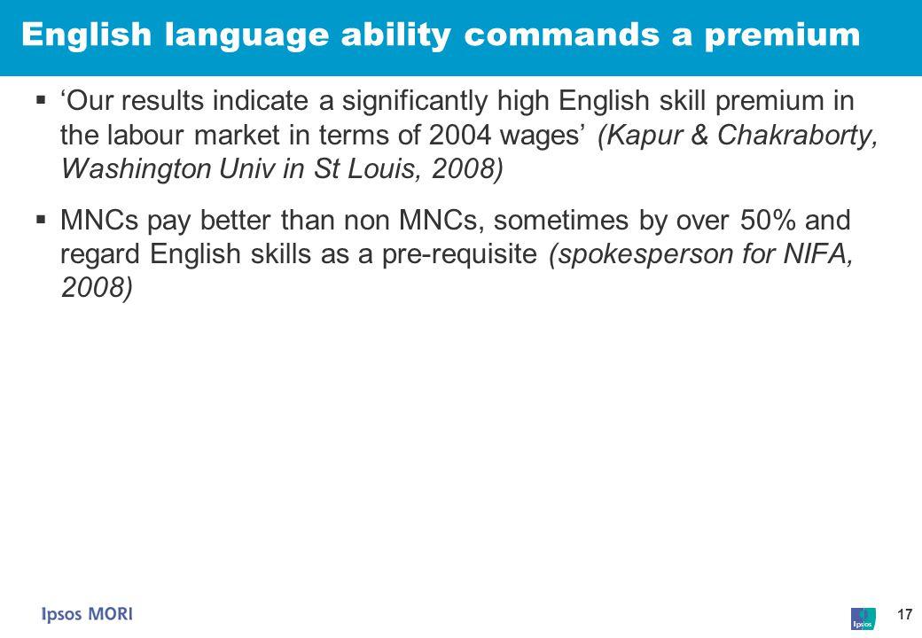 English language ability commands a premium