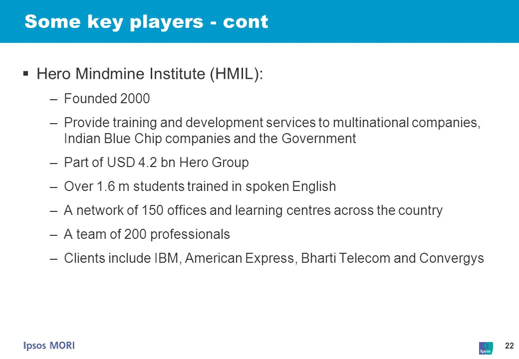 Some key players - cont Hero Mindmine Institute (HMIL): Founded 2000