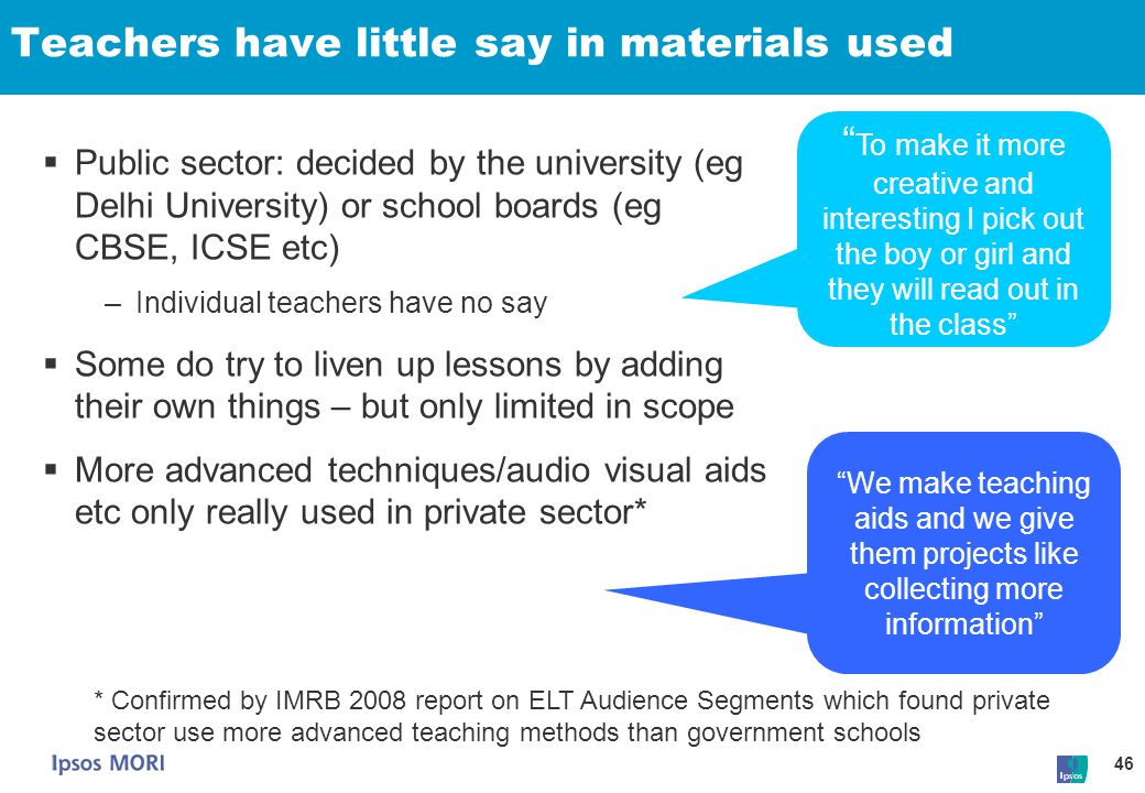 Teachers have little say in materials used