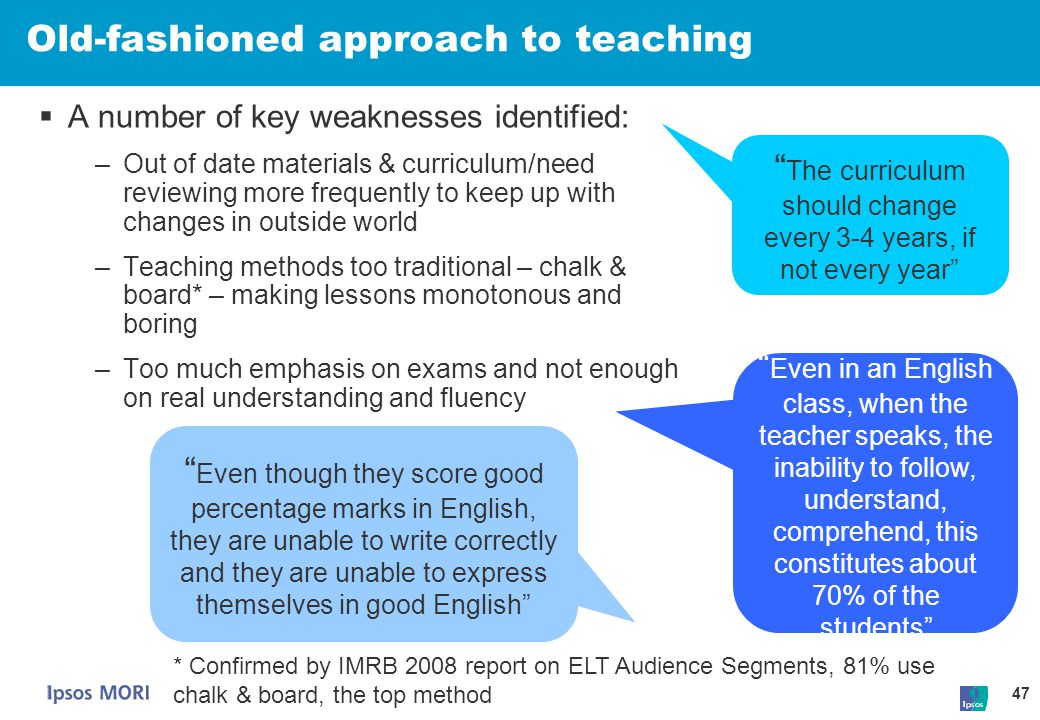 Old-fashioned approach to teaching
