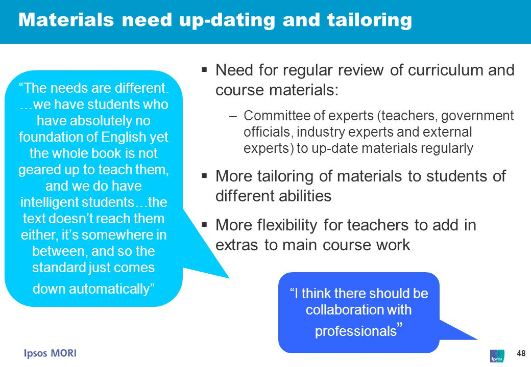 Materials need up-dating and tailoring