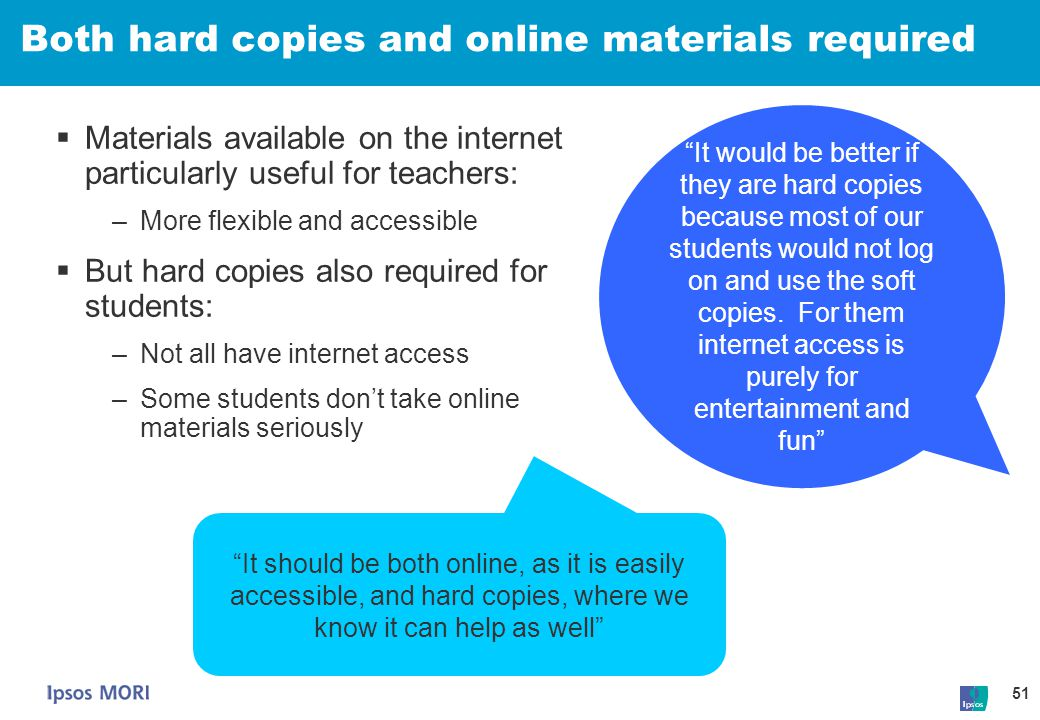 Both hard copies and online materials required