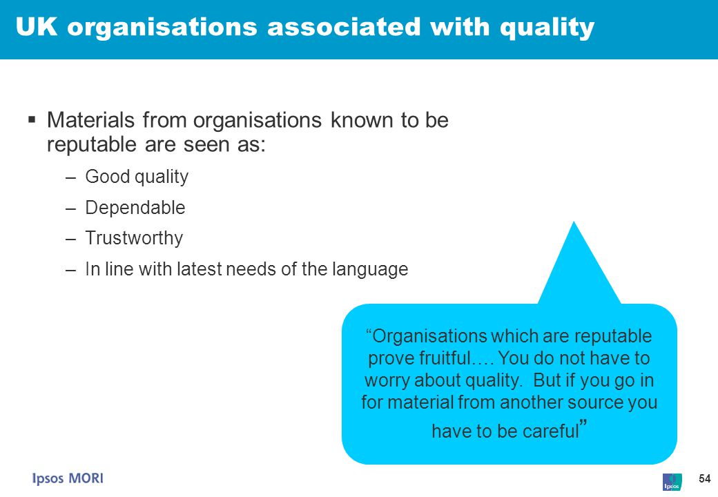 UK organisations associated with quality