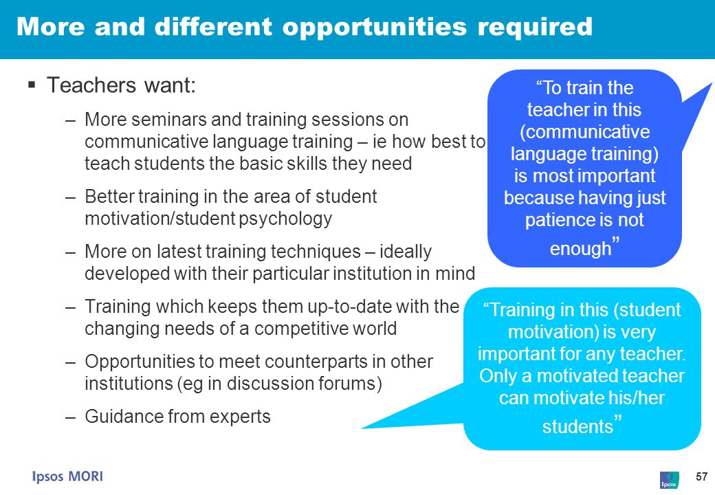 More and different opportunities required