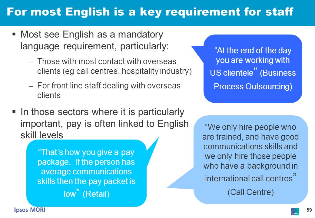 For most English is a key requirement for staff