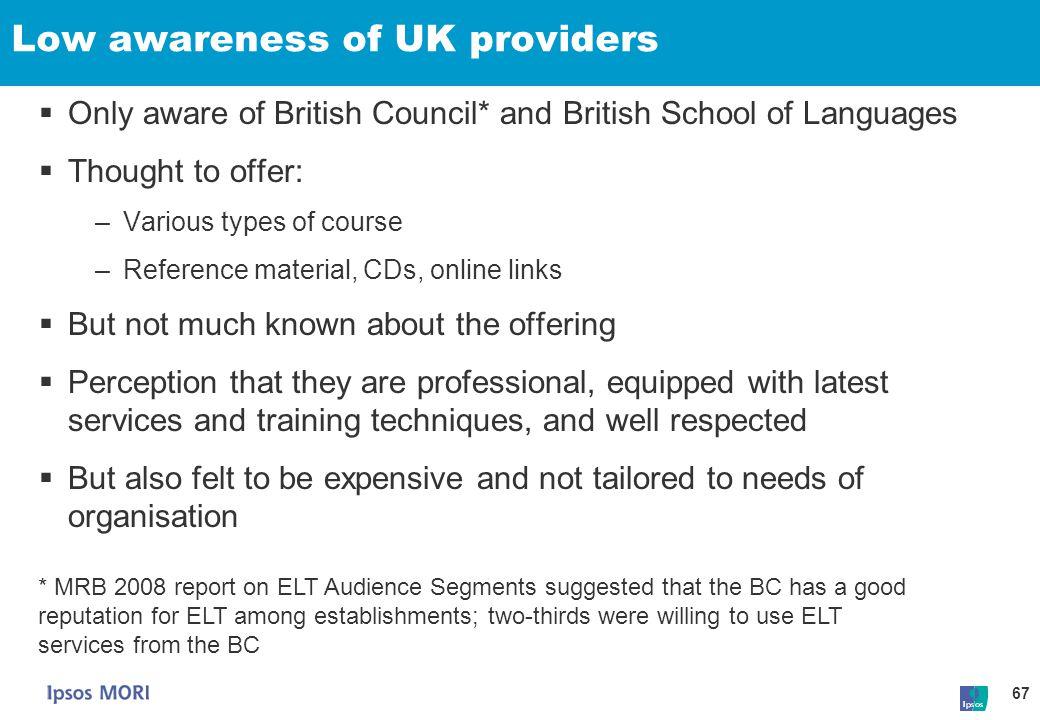 Low awareness of UK providers