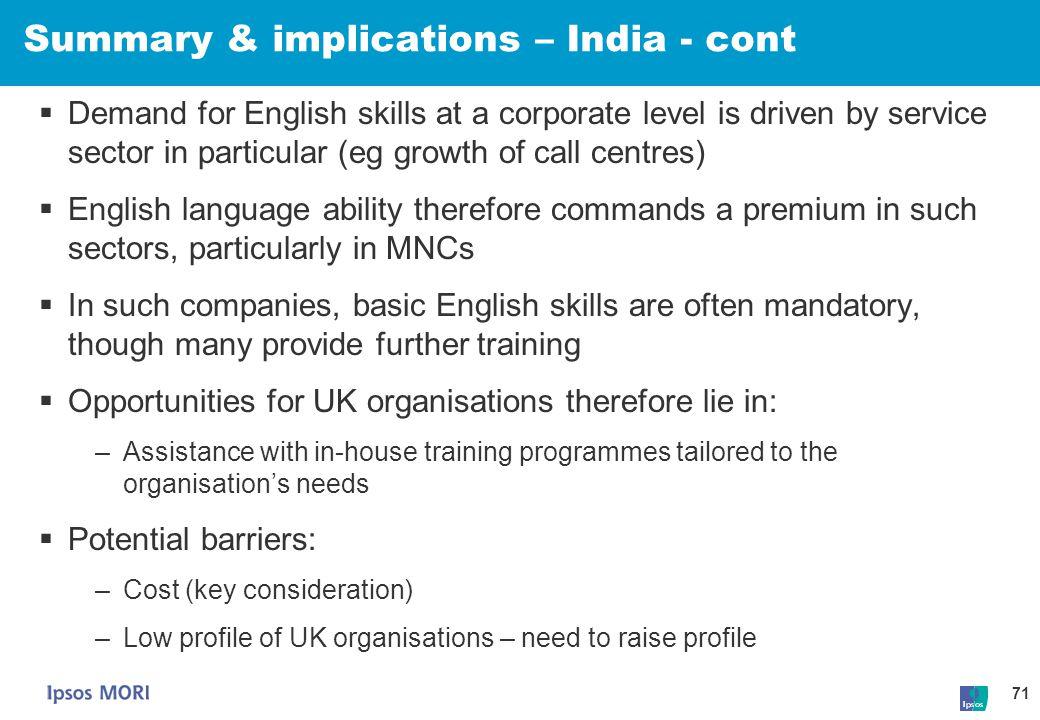 Summary & implications – India - cont