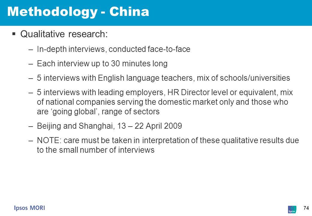 Methodology - China Qualitative research: