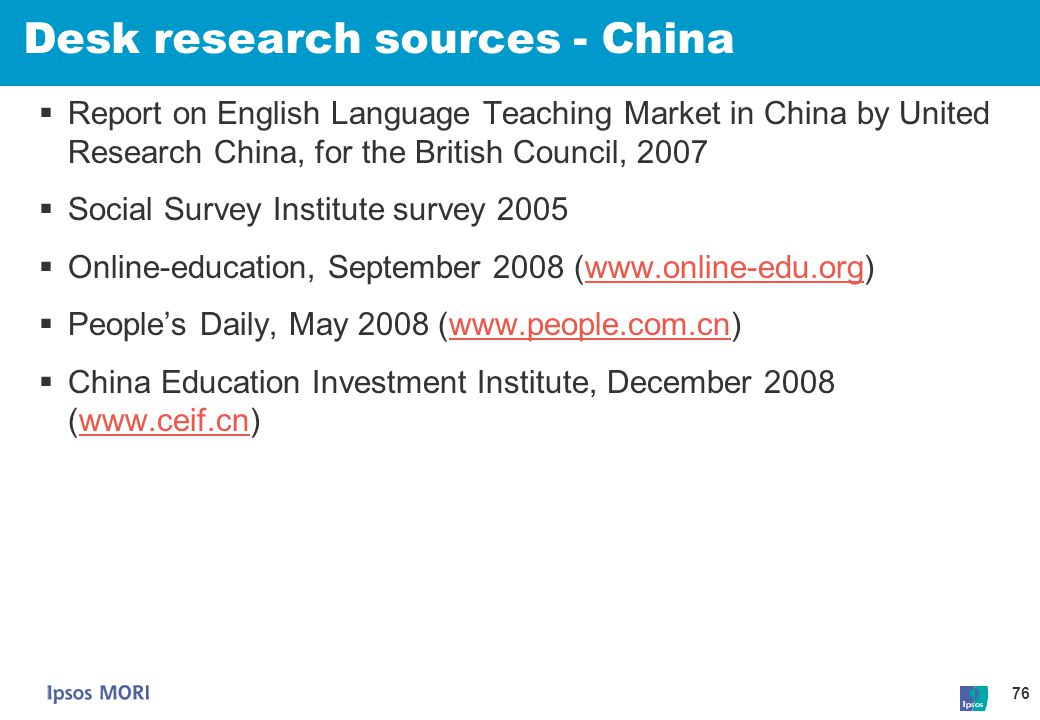 Desk research sources - China