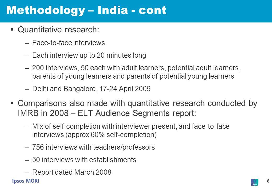 Methodology – India - cont