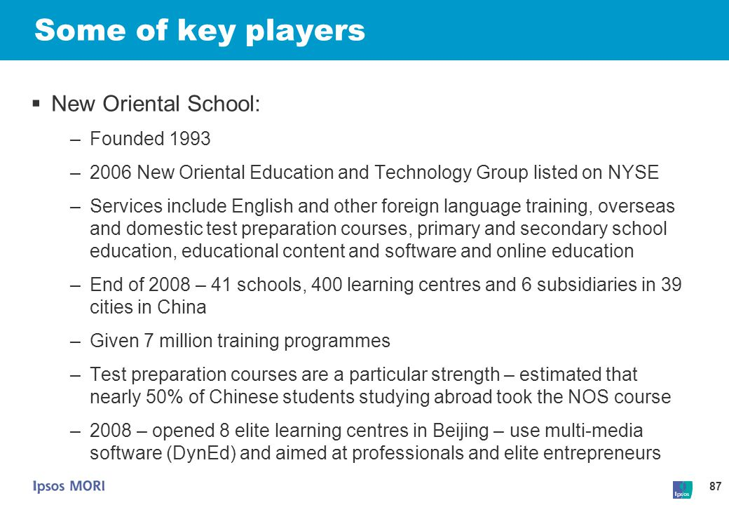 Some of key players New Oriental School: Founded 1993