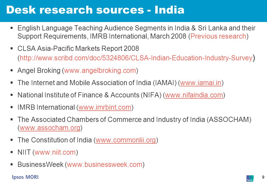 Desk research sources - India