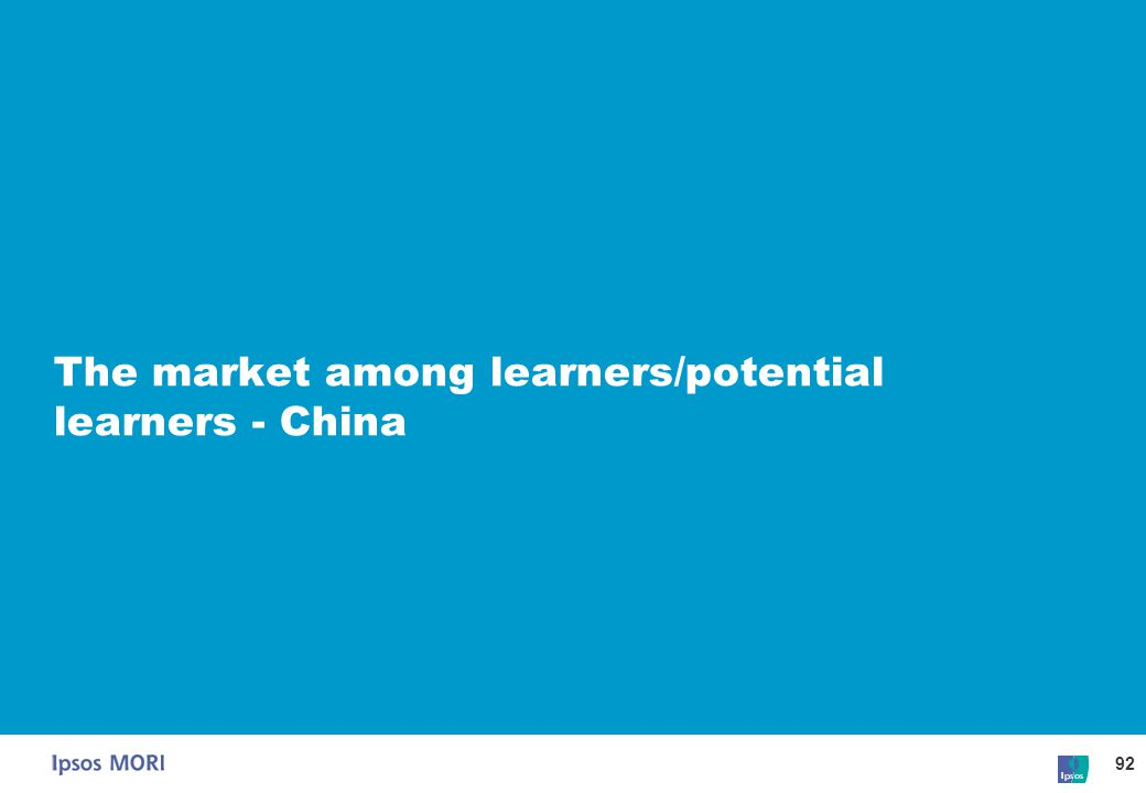 The market among learners/potential learners - China