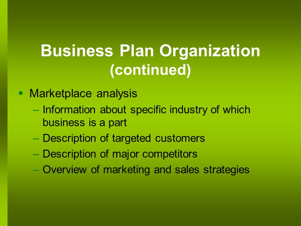 Business Plan Organization (continued)