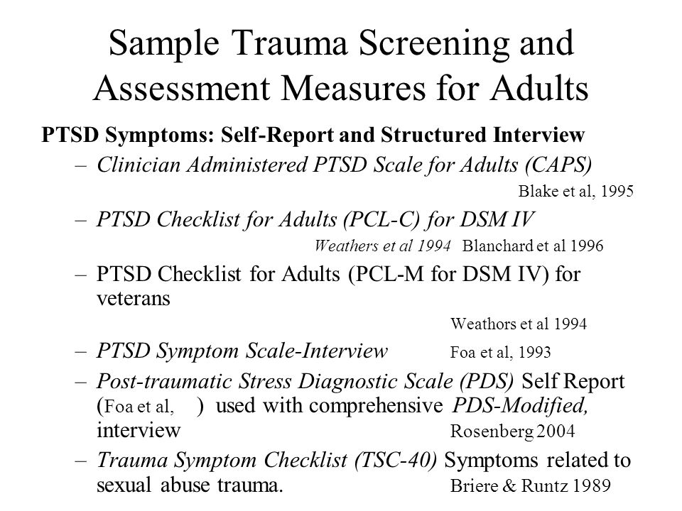Sample Trauma Screening and Assessment Measures for Adults