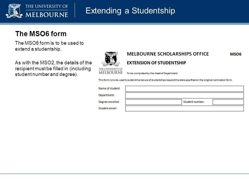 Extending a Studentship