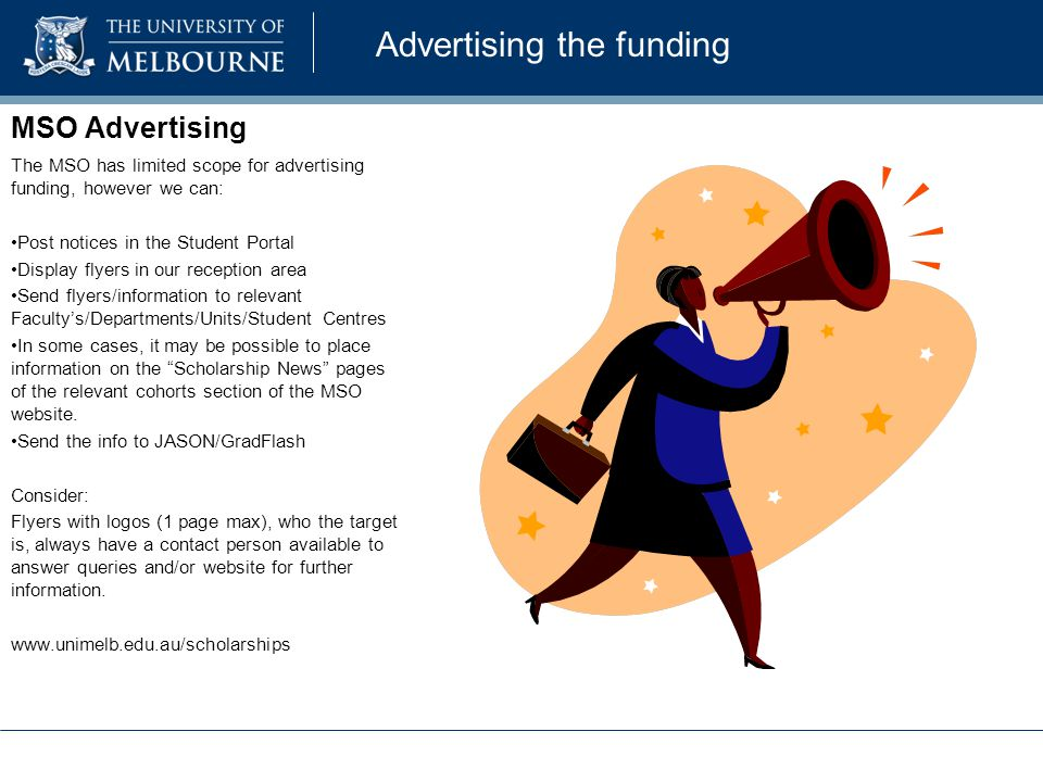 Advertising the funding