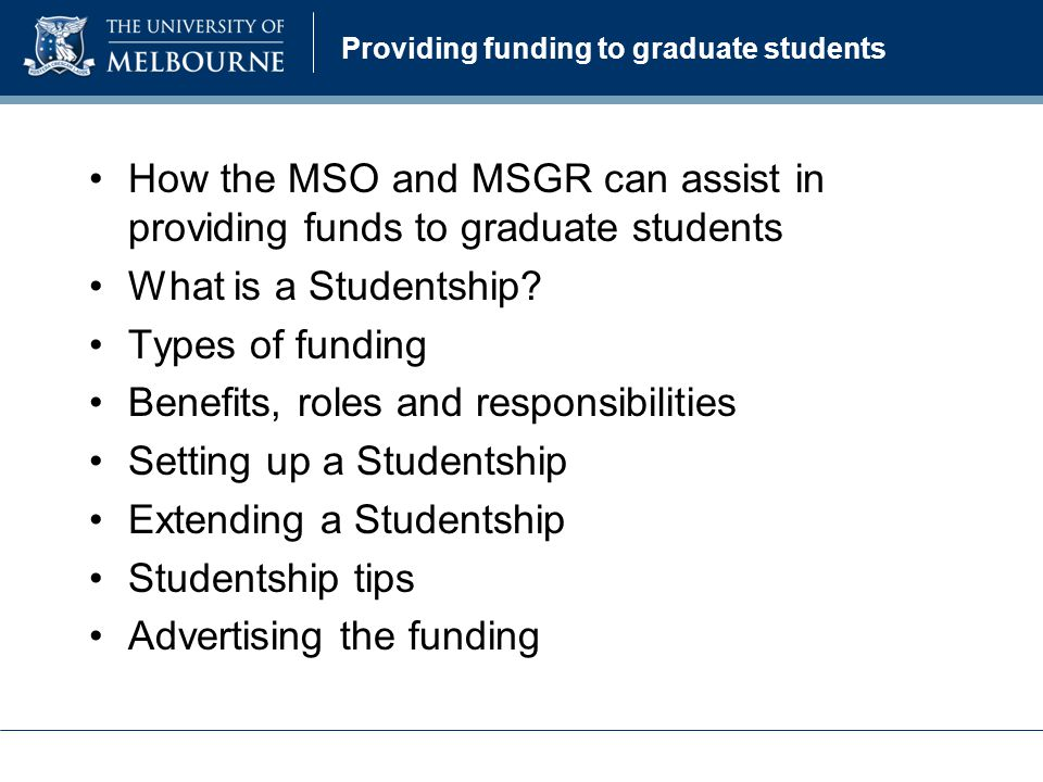 Providing funding to graduate students