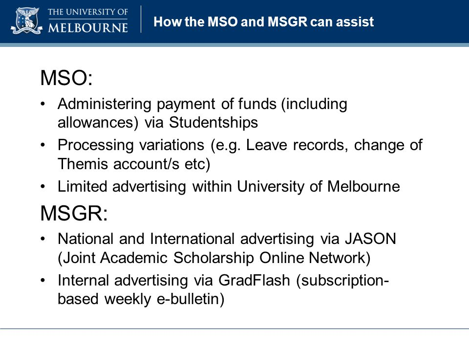 How the MSO and MSGR can assist