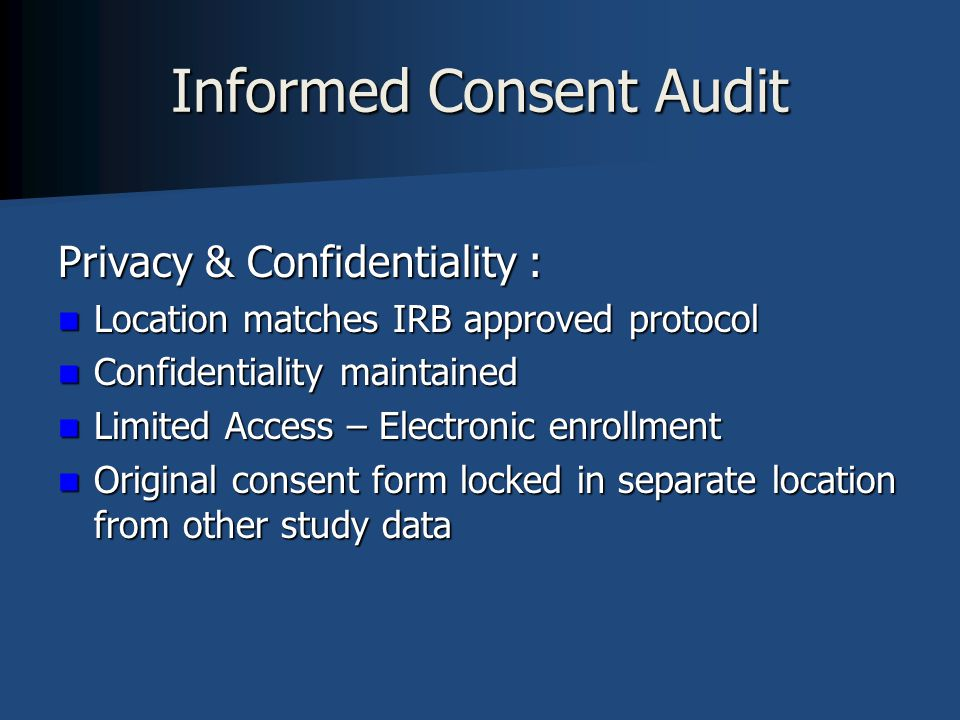 Informed Consent Audit