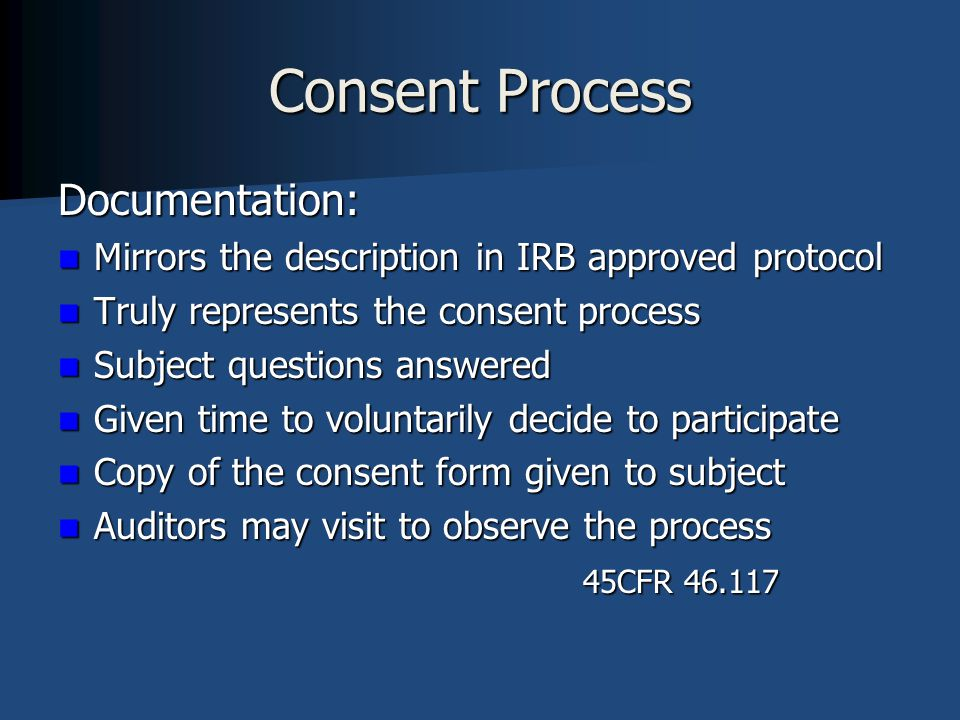 Consent Process Documentation: