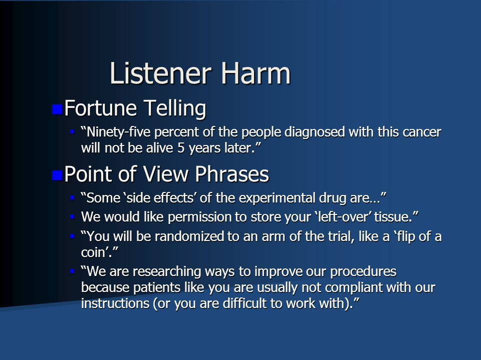 Listener Harm Fortune Telling Point of View Phrases