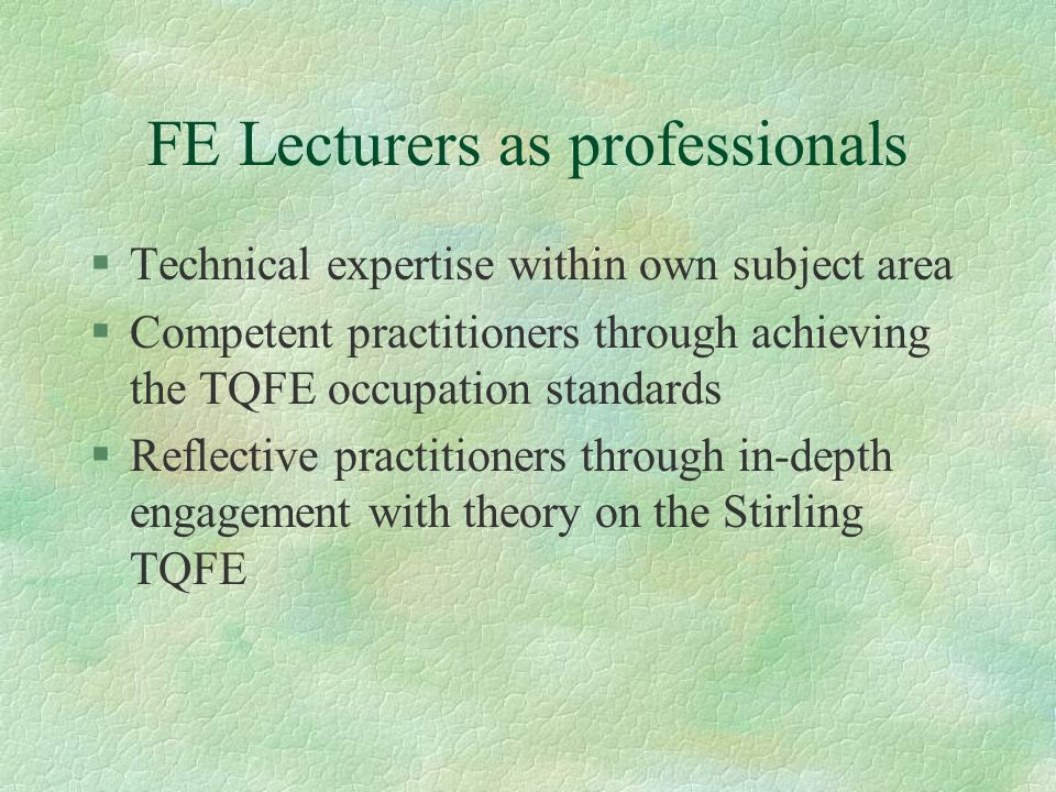 FE Lecturers as professionals